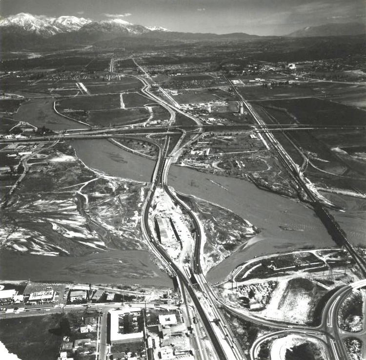 Santa Ana River at 10/215 Interchange in San Bernardino - 1969