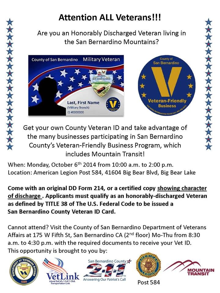 September 2014 county of san bernardino countywire on monday oct 6 the san bernardino county department of veterans affairs is conducting a special event to sign up veterans for a county id card that colourmoves