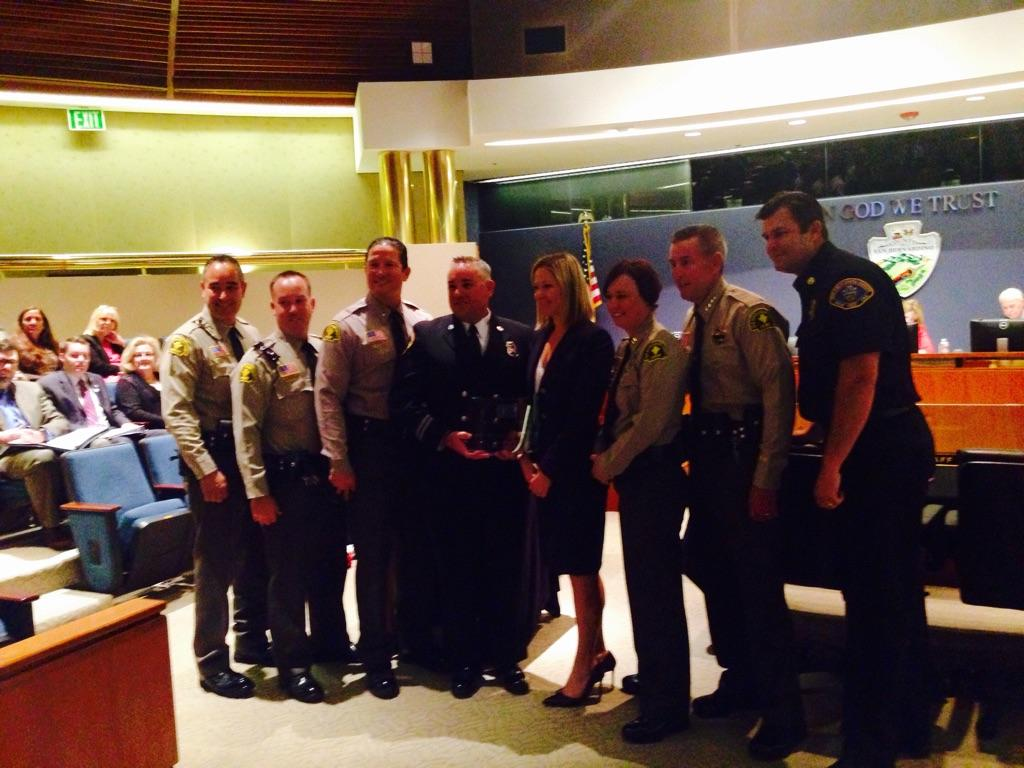 Members of the County Sheriff and Fire departments accept their award from CSAC.