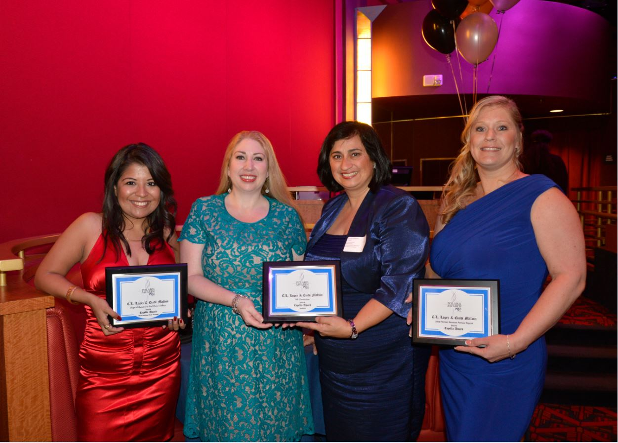 C.L. Lopez, Summer Adams, Gloria Affatati and Cynthia Malvin accept awards for Human Services