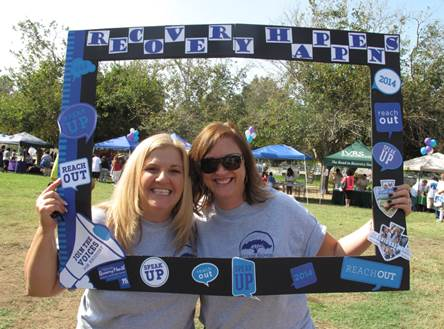 Vickie Baumbach, DBH Alcohol and Drug Services Program Manager II, and Veronica Kelley, DBH Assistant Director, at 2014 Recovery Happens Event.