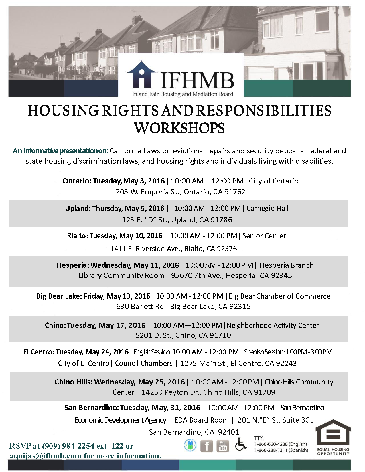 Housing rights and responsibilities workshops in May