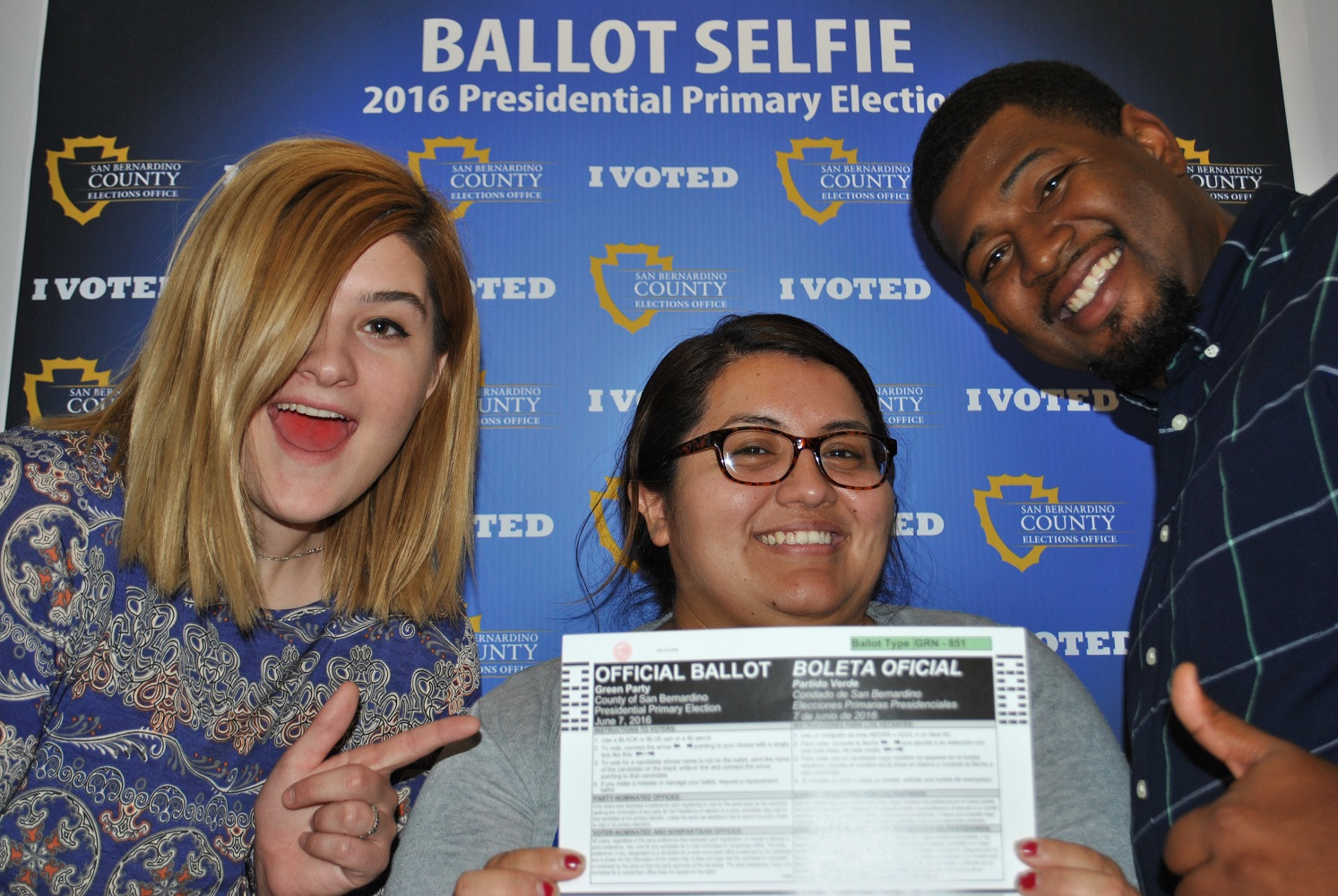 Pictured from left to right, Elections Office staff members: Ashleigh Bachar, Roxana Castro, and Travis Weaver