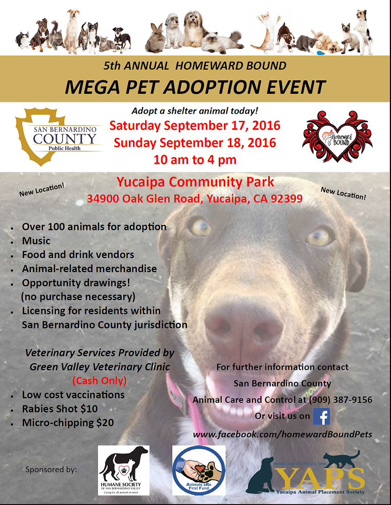 Mega pet adoption event Sept  17 and 18 | County of San