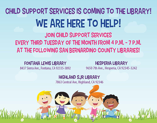 Child Support Services is coming to the library