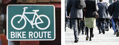 bike route and walking