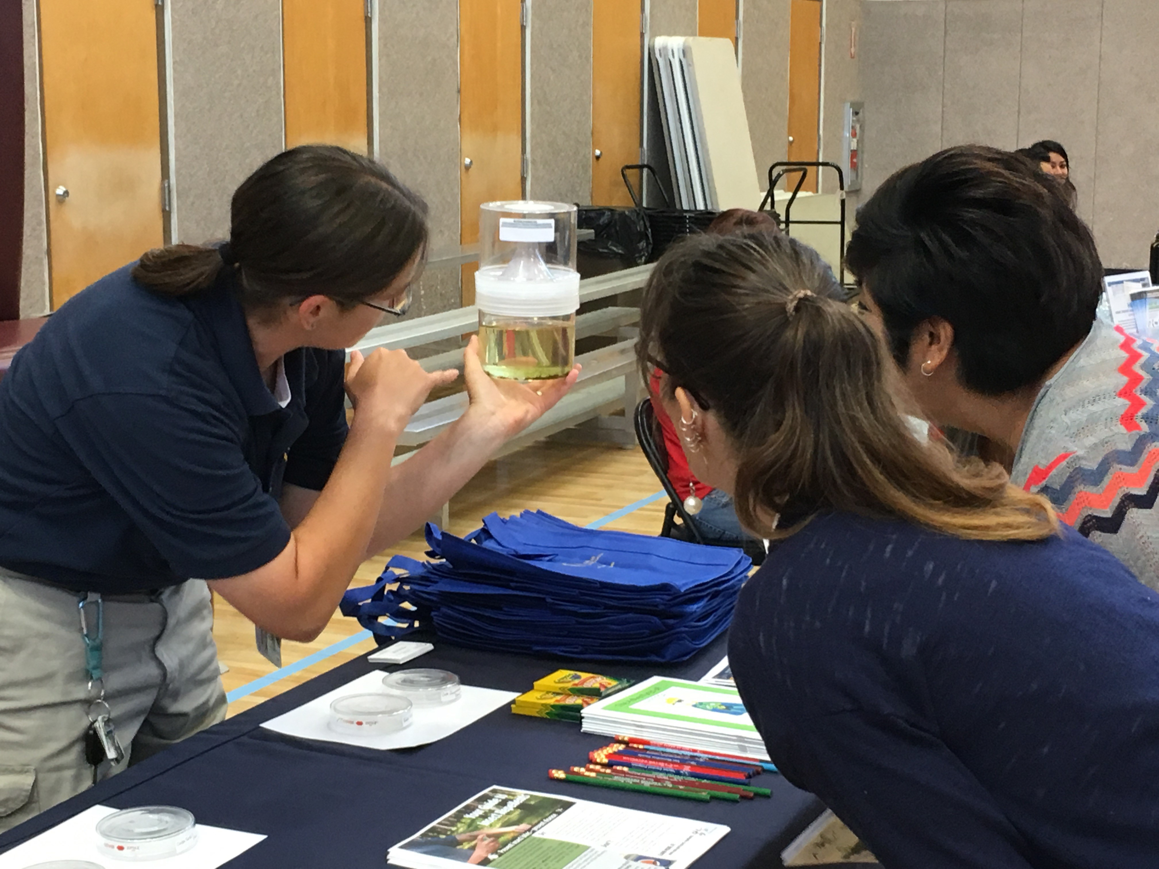Vector technician showing the public a mosquito breeding sample that was collected out in the field.
