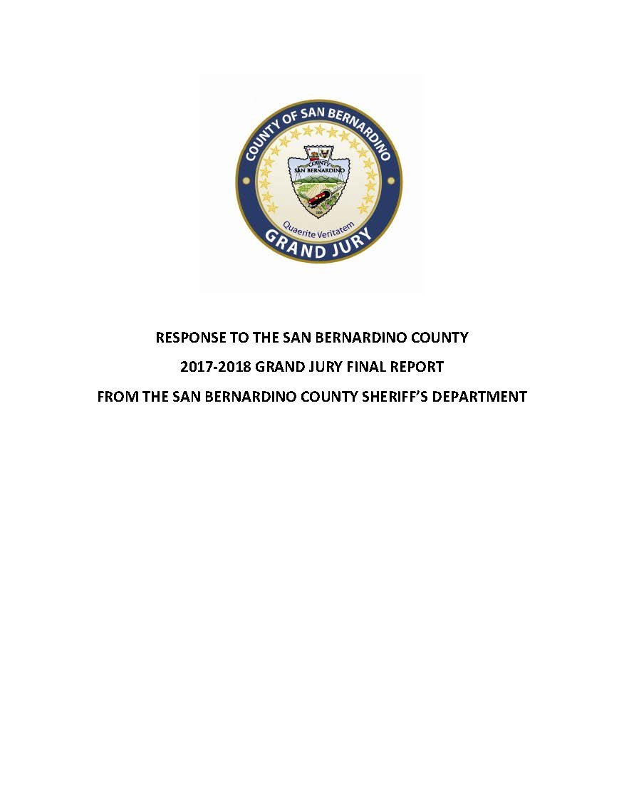 Responses to the San Bernardino County 2016-2017 Grand Jury Final Report Cover