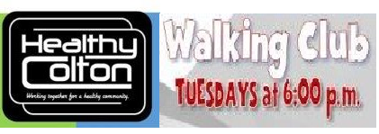 Tuesday evenings at 6:00pm. 30 minute walk on the Colton Bike Path. Meet in front of the Hutton Community Center 660 Colton Avenue