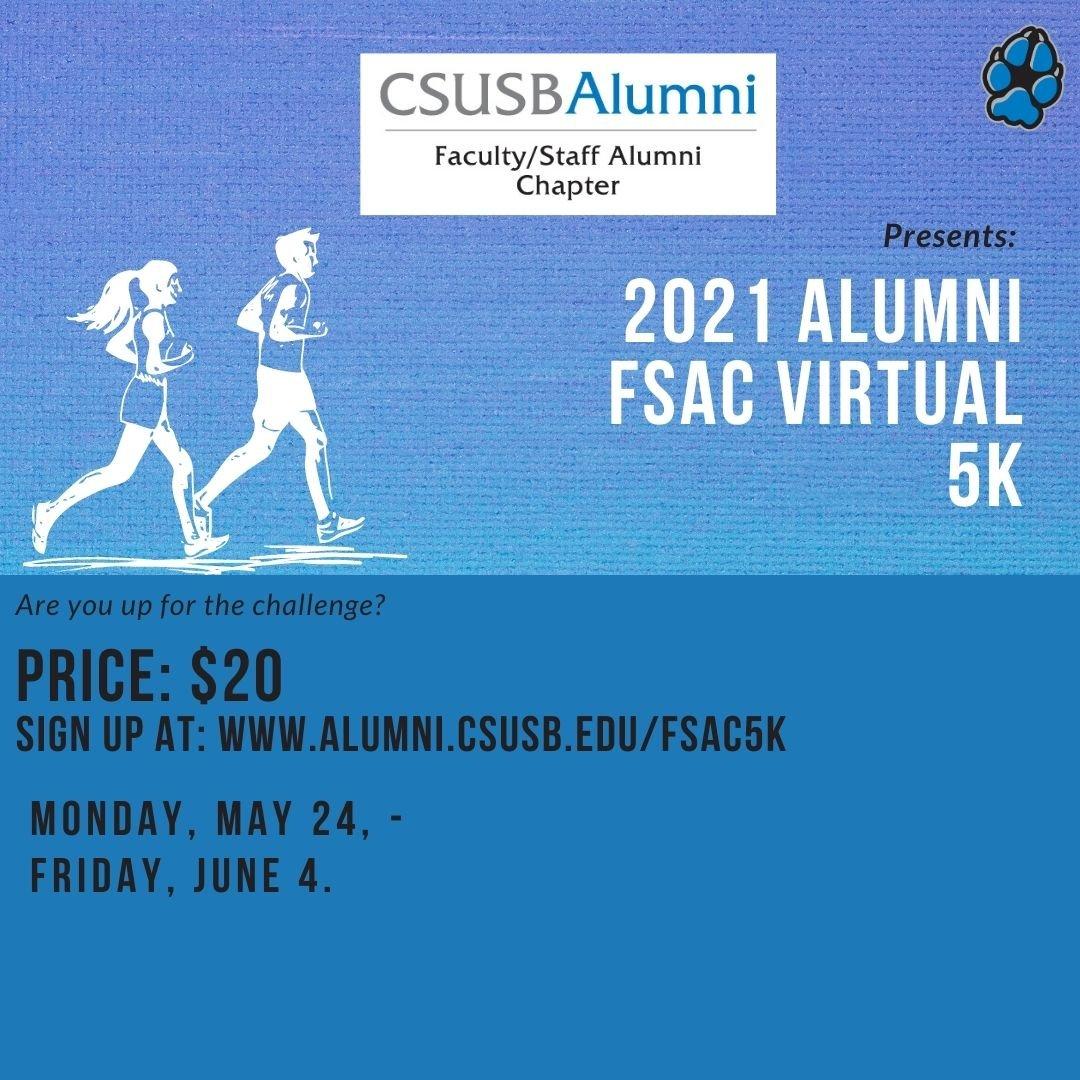 CSUSB Alumni Virtual 5k- May 24th-June 4th