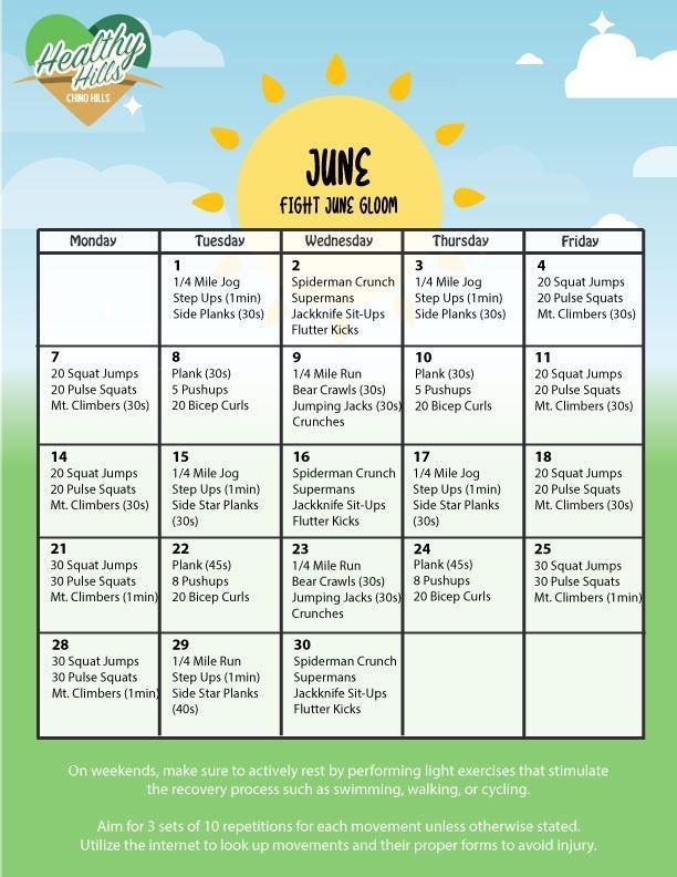 Chino Hills Fitness Monthly Calendar